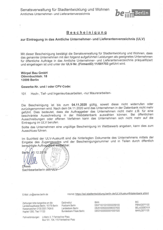 ULV Bescheinigung